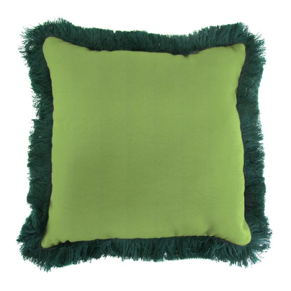 Sunbrella Canvas Gingko Square Outdoor Throw Pillow with Forest Green Fringe