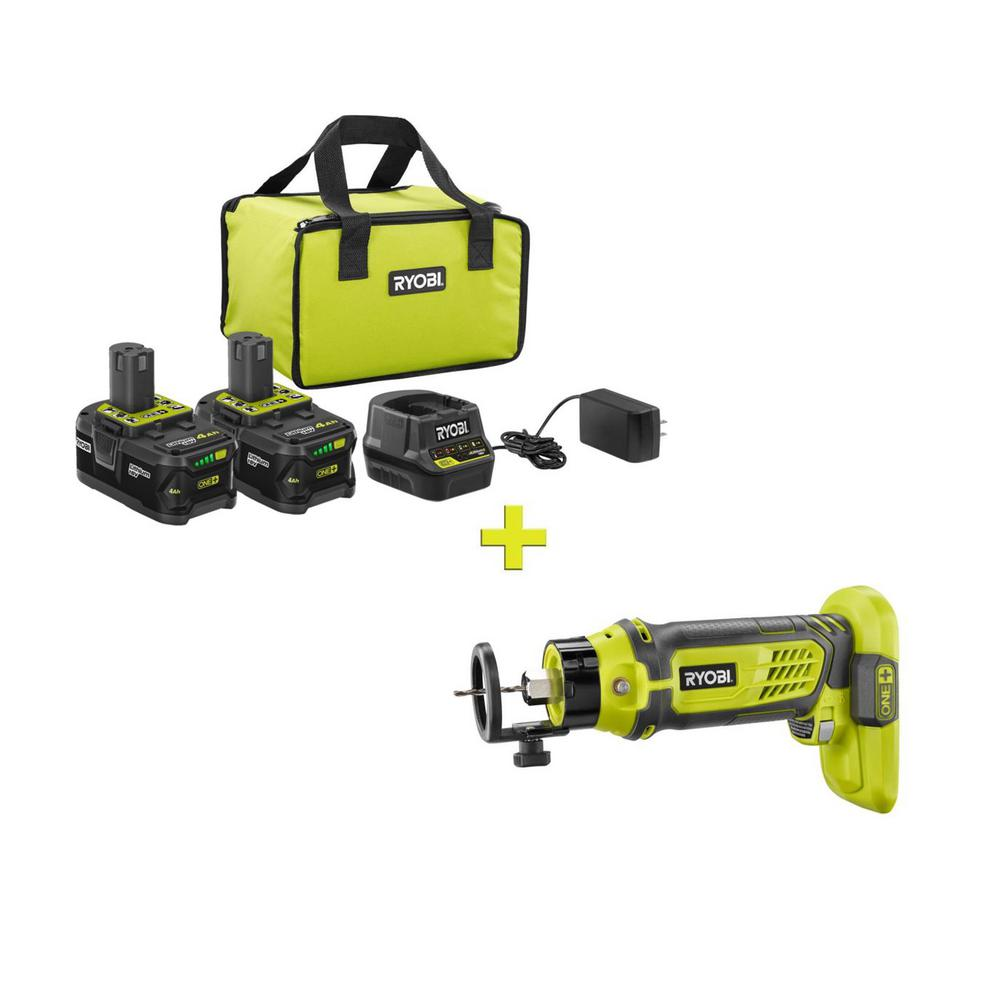 RYOBI 18-Volt ONE+ High Capacity 4.0 Ah Battery (2-Pack) Starter Kit with Charger and Bag w/FREE ONE+ SPEED SAW Rotary Cutter was $266.97 now $99.0 (63.0% off)
