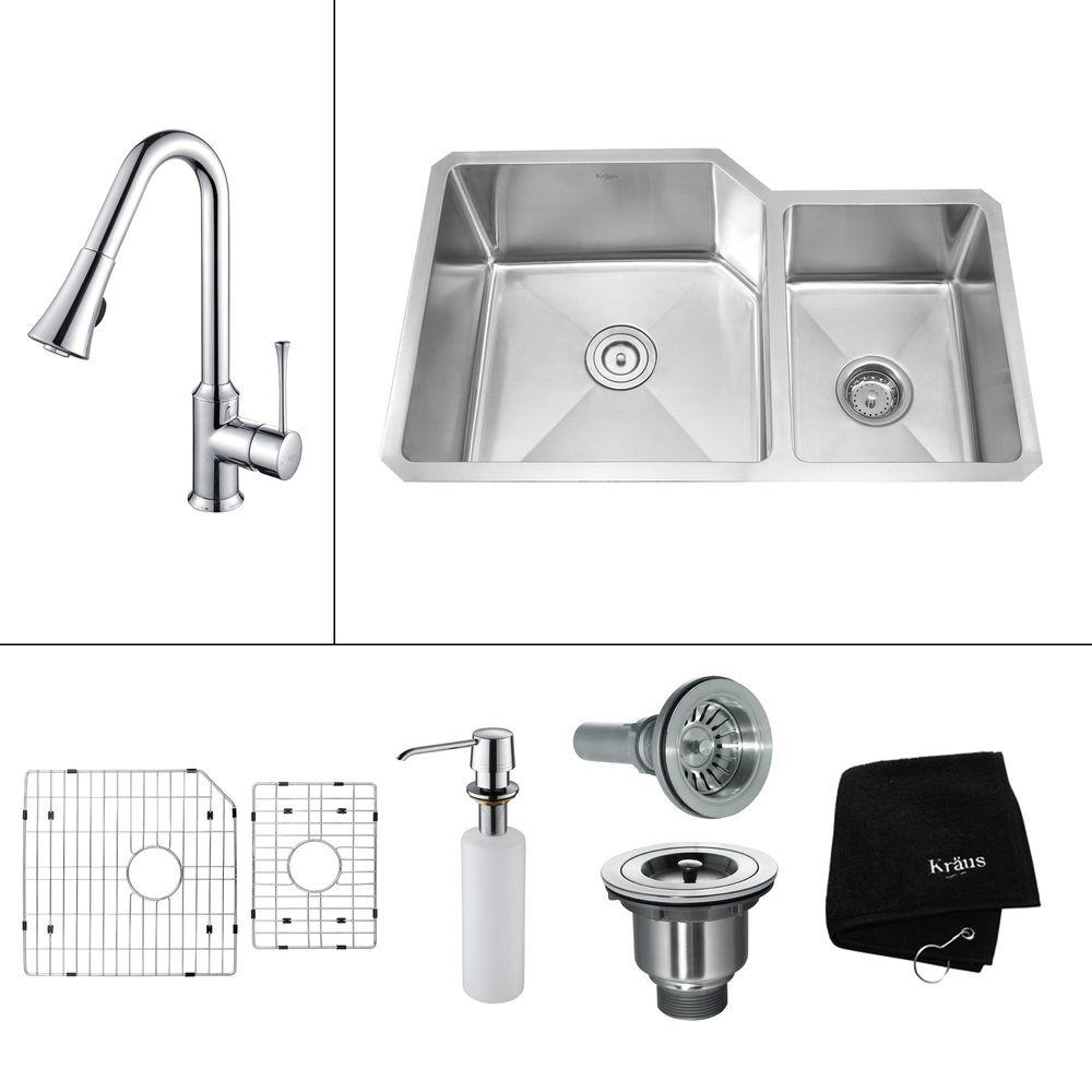 KRAUS All-in-One Undermount Stainless Steel 32x20x15.53 0-Hole Double Bowl Kitchen Sink w/ Kitchen Faucet Chrome-DISCONTINUED