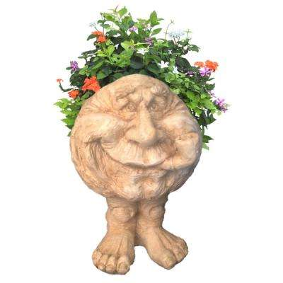 12 in. Antique White Grandpa in. Old Hickory in. the Muggly Statue Face Statue Planter Holds 4 in. Pot