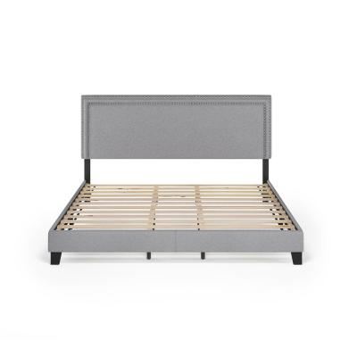 Laval Glacier King Double Row Nail Head Bed Frame