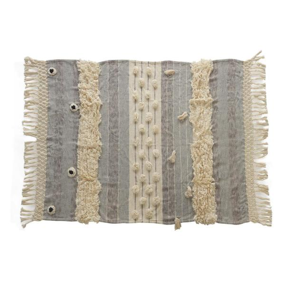 Cottage Gray Fringed Tassel Cozy Cotton Throw Blanket