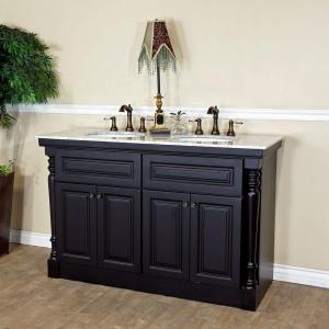 Click here to buy Bellaterra Home Parma 55 inch Double Vanity in Dark Mahogany with Marble Vanity Top in White by Bellaterra Home.
