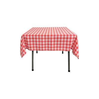 52 in. x 52 in. White and Coral Polyester Gingham Checkered Square Tablecloth