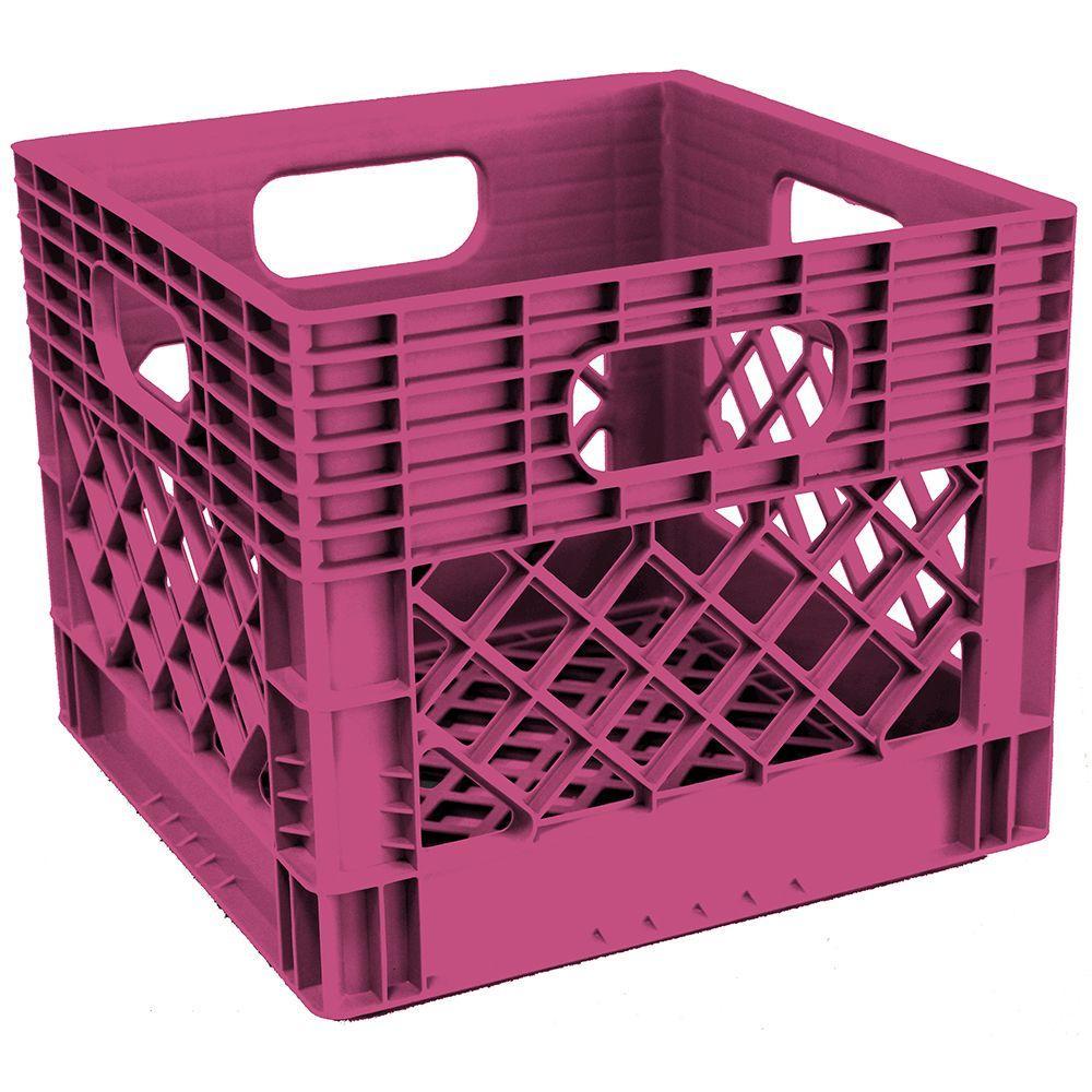 11 in. H x 13 in. W x 13 in. D Plastic Storage Milk Crate in Fushia
