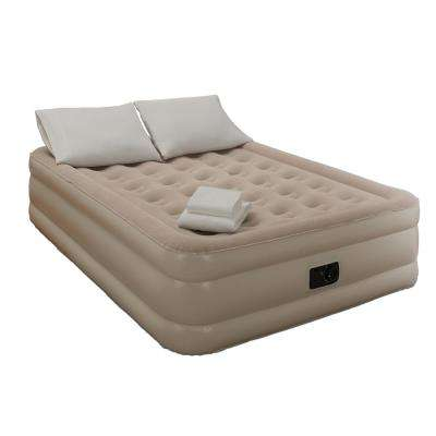 Twin 18 in. Grey Bedding and Air Mattress Set