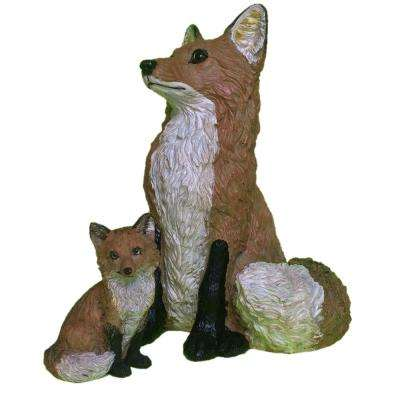 15 in. Fox and 6 in. Fox Cub Statue Combo Family Set