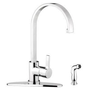 Single-Handle Standard Kitchen Faucet with Side Sprayer in Chrome