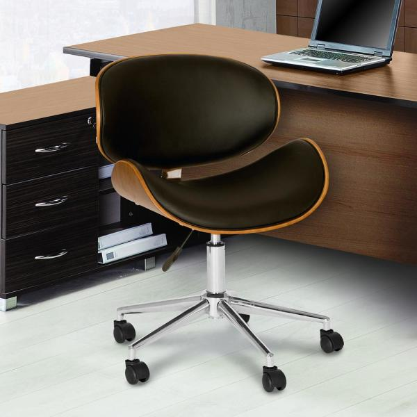 Armen Living Daphne 33 In Black Faux Leather And Chrome Finish Modern Office Chair Lcdaofchbl The Home Depot