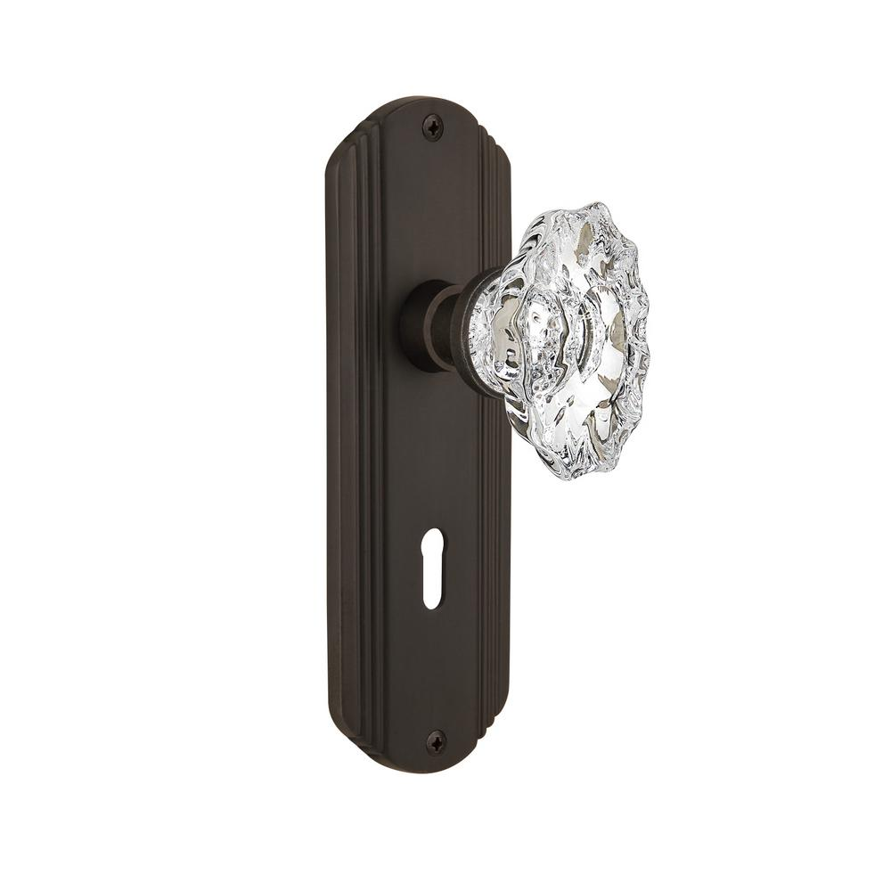 Deco Plate with Keyhole 2-3/8 in. Backset Oil-Rubbed Bronze Passage Hall/Closet
