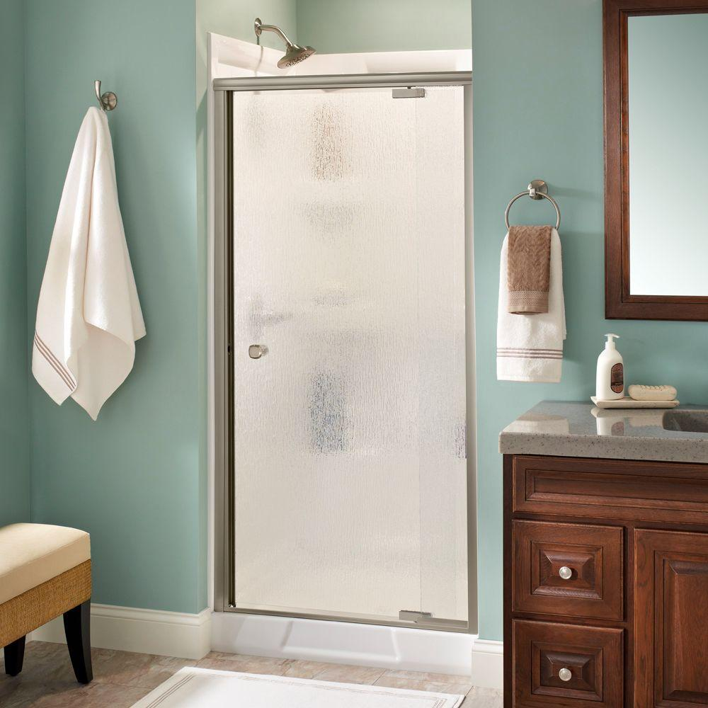 Delta Mandara 36 in. x 66 in. Semi-Frameless Pivot Shower Door in Nickel with Rain Glass