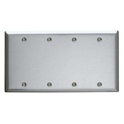 302 Series 4-Gang Blank Wall Plate in Stainless Steel