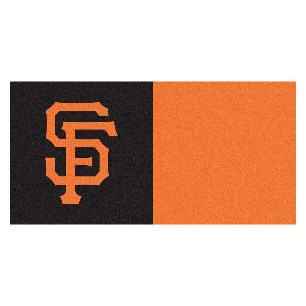 FANMATS MLB - San Francisco Giants Orange and Black Nylon 18 in. x 18 in. Carpet Tile (20 Tiles/Case)
