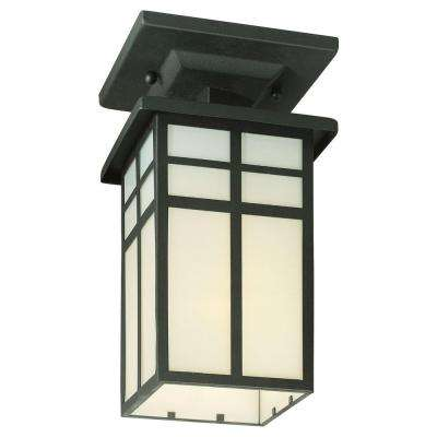 Mission Black 1-Light Outdoor Semi-Flush Mount