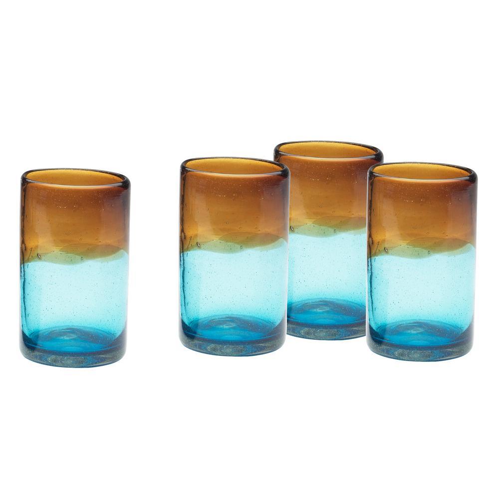 Monterey 16 oz. 4-Piece Blue-Brown Glass Hiball Drinkware Set
