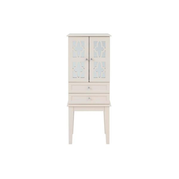 StyleWell 6 Drawer Ballet Beige Wood Jewelry Armoire with 2 Doors and Inset Mirror (16 in W. X 40 in H.)