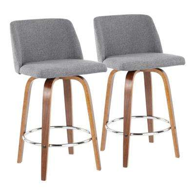 Toriano 26 in. Walnut and Grey Fabric Counter Stool with Round Chrome Footrest (Set of 2)