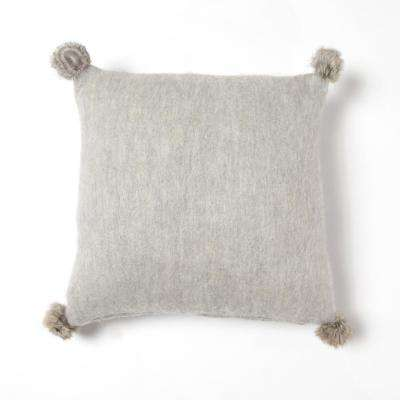 Grey Rabbit Fur Pom Pom Wool Pillow