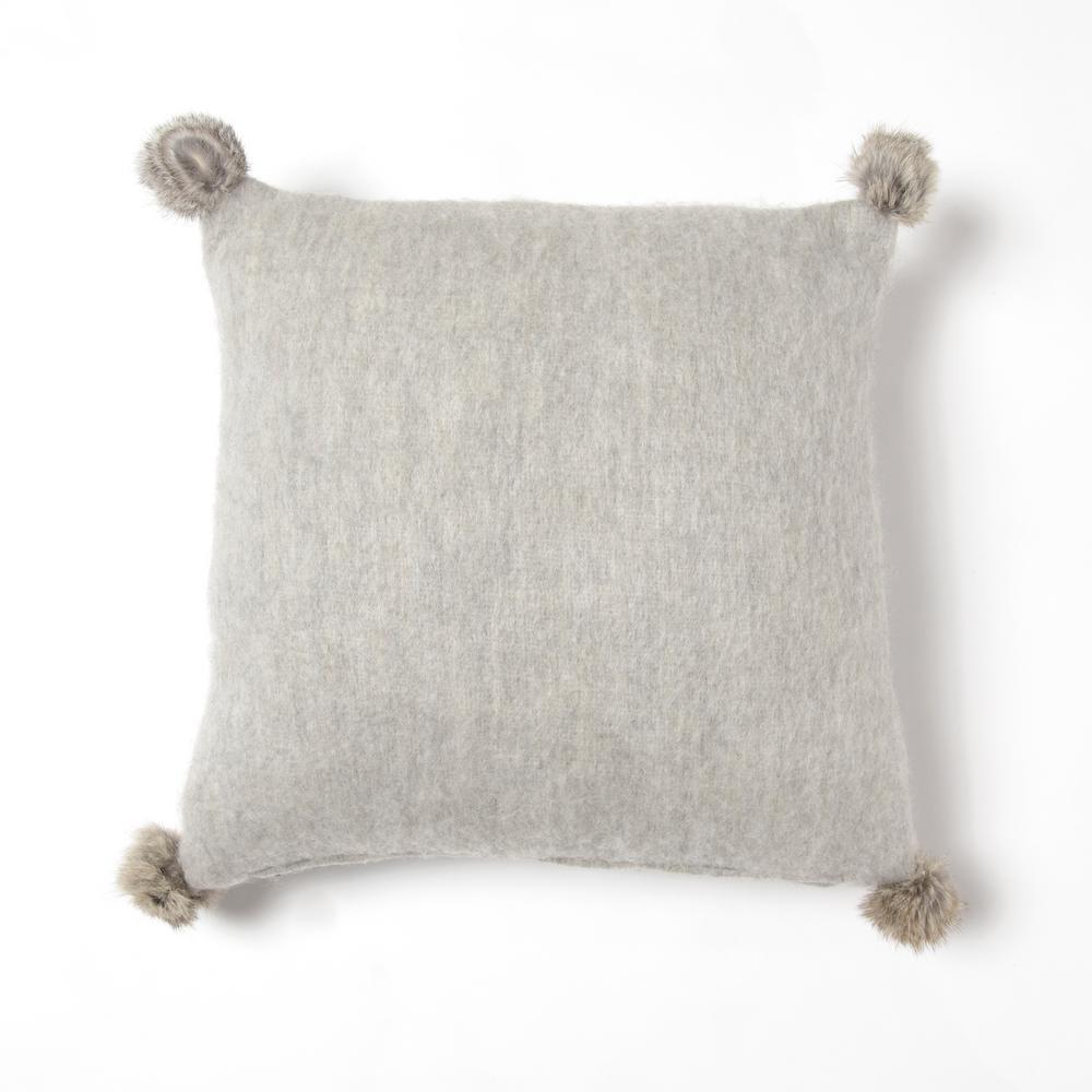 Grey Rabbit Fur Pom Pom Wool Pillow