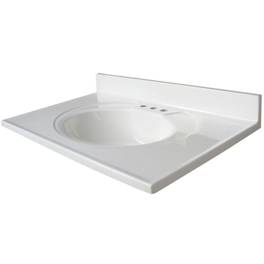 Glacier Bay Newport 30 5 In Cultured Marble Vanity Top With Basin In White N31gb W The Home Depot