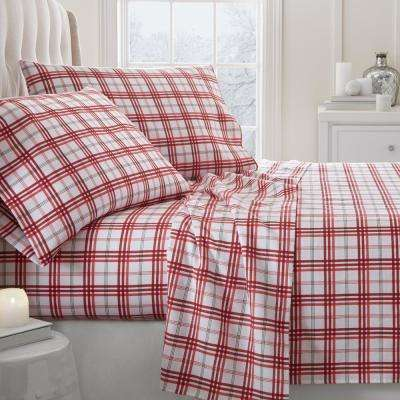 Christmas Plaid Flannel Red Queen 4-Piece Bed Sheet Set