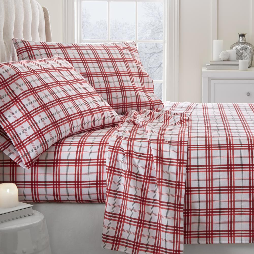 Twin Christmas Bedding Sets.Christmas Plaid Flannel Red Twin 4 Piece Bed Sheet Set
