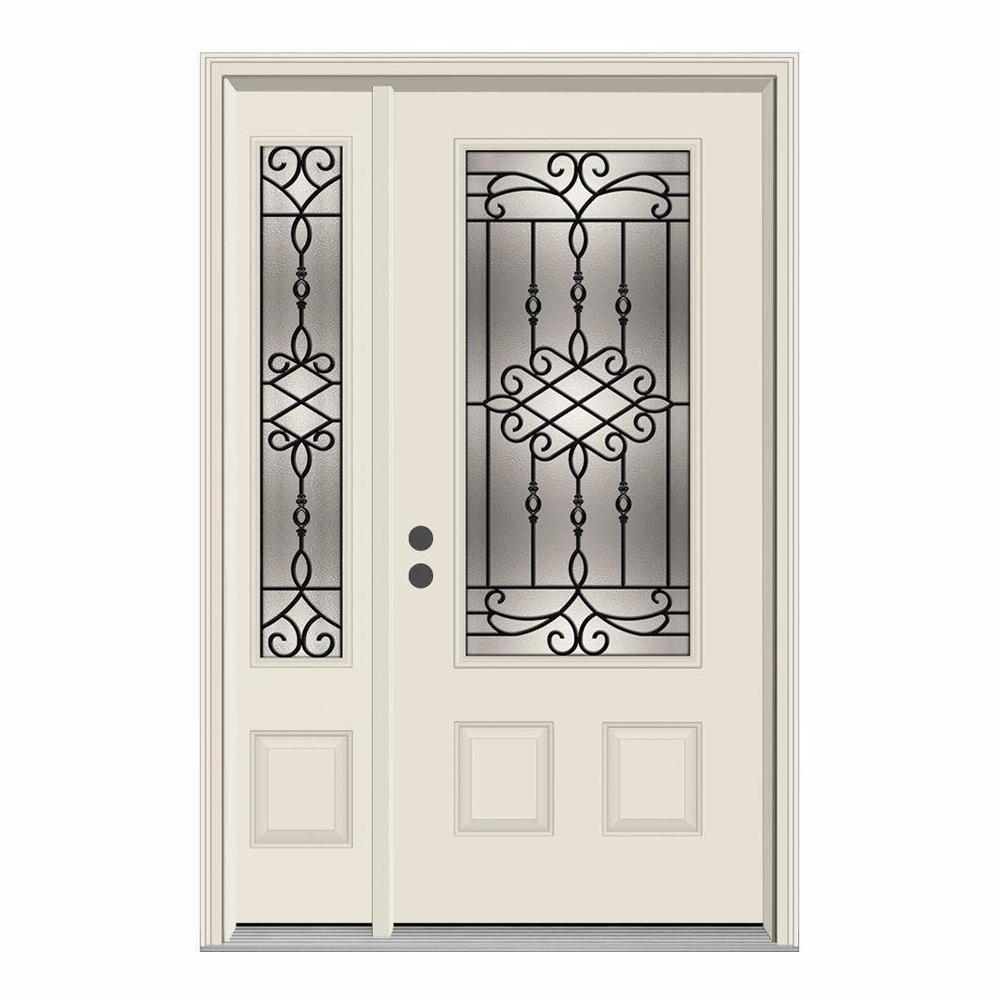 52 in. x 80 in. 3/4 Lite Sanibel Primed Steel Prehung Right-Hand Inswing Front Door with Left-Hand Sidelite