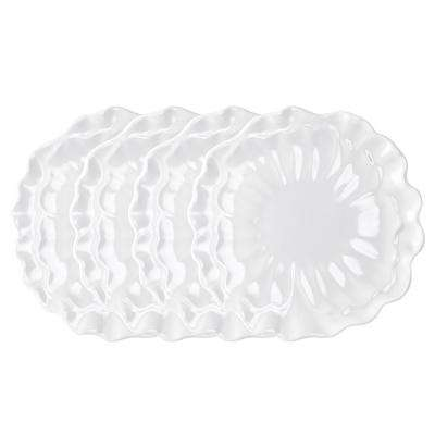 Peony 4-Piece 11 in. White Melamine Dinner Plate Set