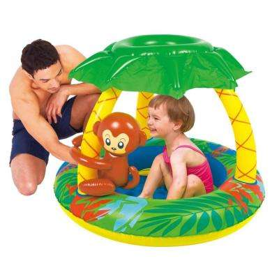 40 in. Inflatable Palm Tree Sun Shade Baby Pool with Monkey and Banana