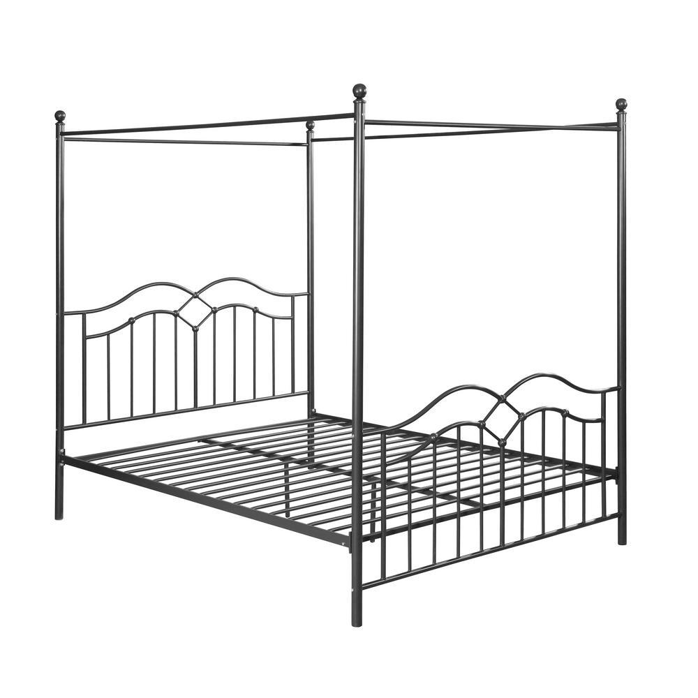Earhart  Charcoal Grey Metal Queen Bed Frame