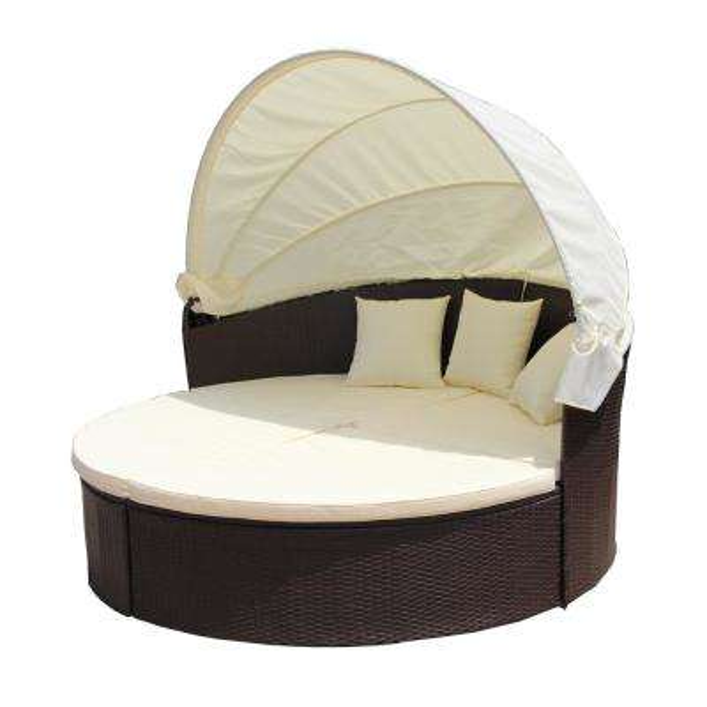 Brown 1-Piece Wicker Patio Conversation Set with Cream Cushions