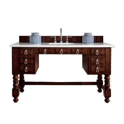 Castilian ADA 60 in. W Single Bath Vanity in Aged Cognac with Soild Surface Vanity Top in Arctic Fall with White Basin