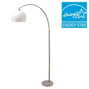 ORE International 76 inch H Modern Silver Arc Floor Lamp with White Marble Base by ORE International