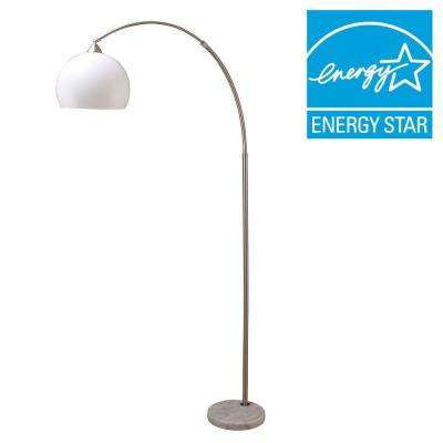 76 in. H Modern Silver Arc Floor Lamp with White Marble Base