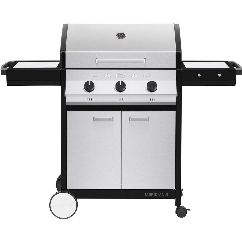 Cadac Meridian 3-Burner Propane Gas BBQ Grill in Stainless Steel w/ 2-Door Cart and Side Tables