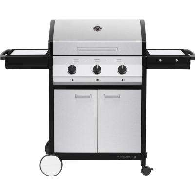 Meridian 3-Burner Propane Gas BBQ Grill in Stainless Steel with 2-Door Cart and Side Tables