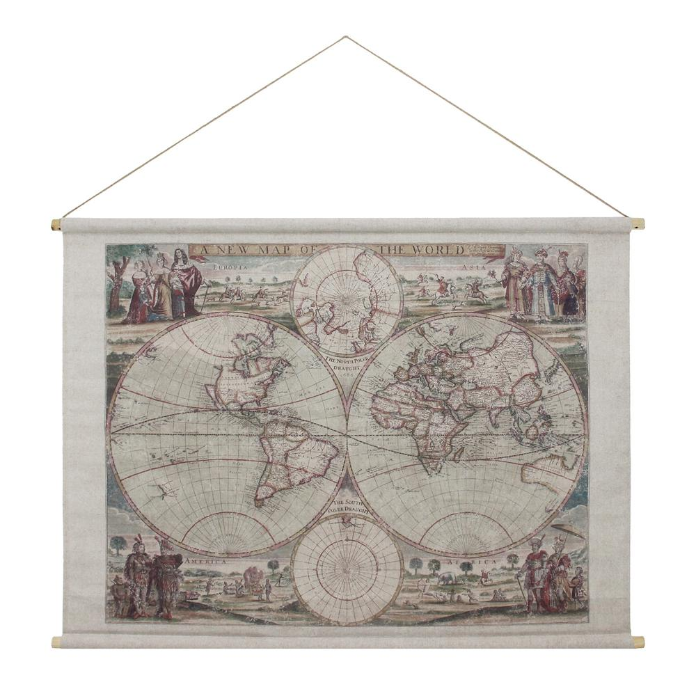 Habitat Map Of The World Hanging Linen Tapestry-FWA898309