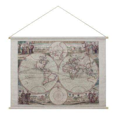 Map of the World Hanging Linen Tapestry