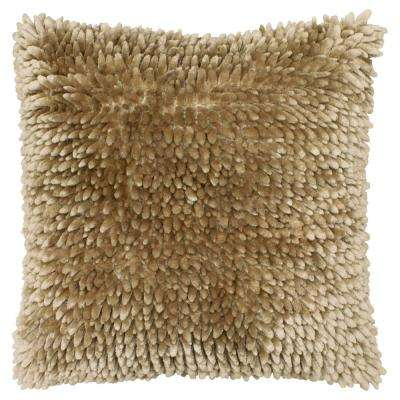 Butter Chenille 18 in. x 18 in. Linen Decorative Pillow