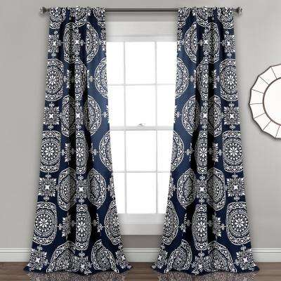 Karmen Medallion Window Panel in Navy - 84 in. L x 52 in. W (2-Piece)