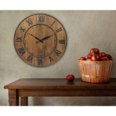 Wine Barrel 24 in. H x 24 in. W Round Wall Clock