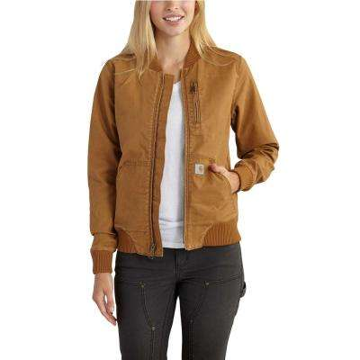 Women's Medium Carhartt Brown Cotton Blend Crawford Bomber Jacket
