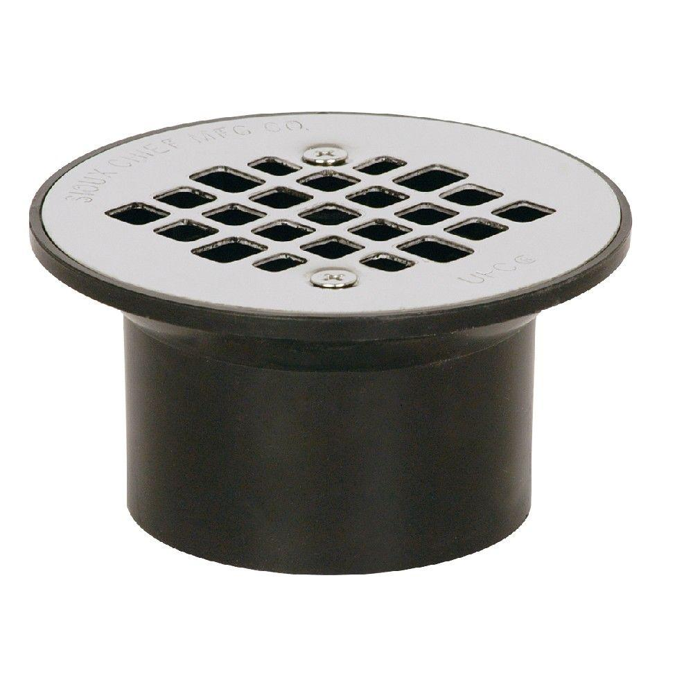 Sioux Chief 2 in. x 3 in. Black ABS Floor Drain with Strainer
