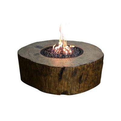 Blazing Timber 37 in. Round Eco-Stone Natural Gas Fire Pit in Natural Brown