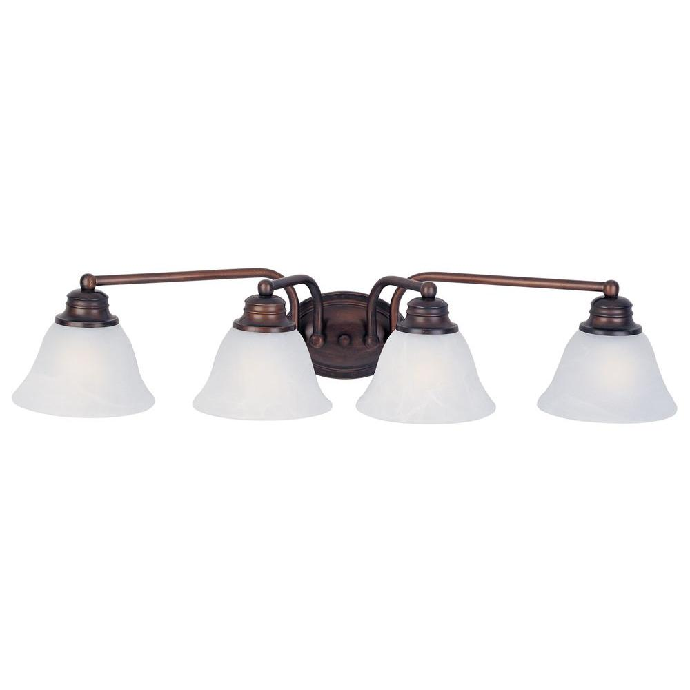 Maxim lighting malaga 4 light oil rubbed bronze bath for Bathroom vanity light fixtures oil rubbed bronze