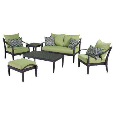Astoria 6-Piece Love and Club Patio Deep Seating Set with Ginkgo Green Cushions