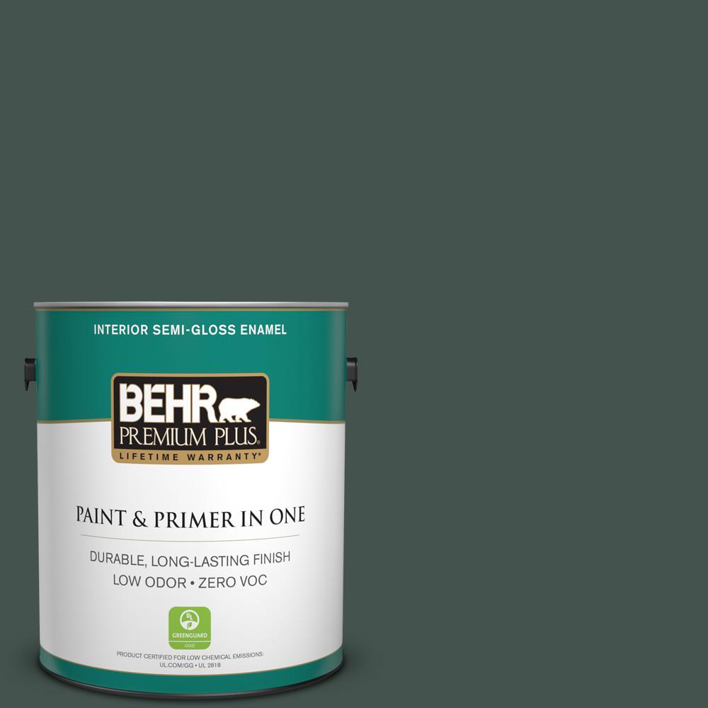 BEHR Premium Plus 1-gal. #460F-7 Hazel Woods Zero VOC Semi-Gloss Enamel Interior Paint