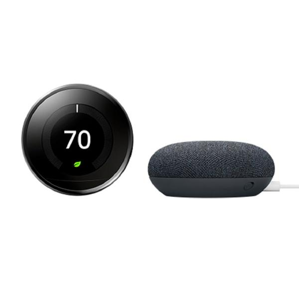 Nest Learning Thermostat 3rd Gen Mirror Black + Nest Mini (2nd Gen) Smart Speaker Charcoal