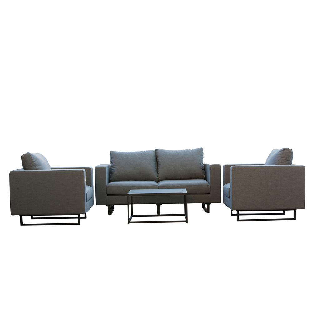 Patio Plus Beach Aluminum Outdoor Conversation Set Grey Cushions