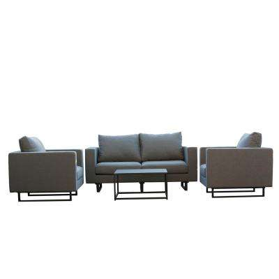 South Beach 4-Piece Aluminum Patio Outdoor Patio Conversation Set with Grey Cushions